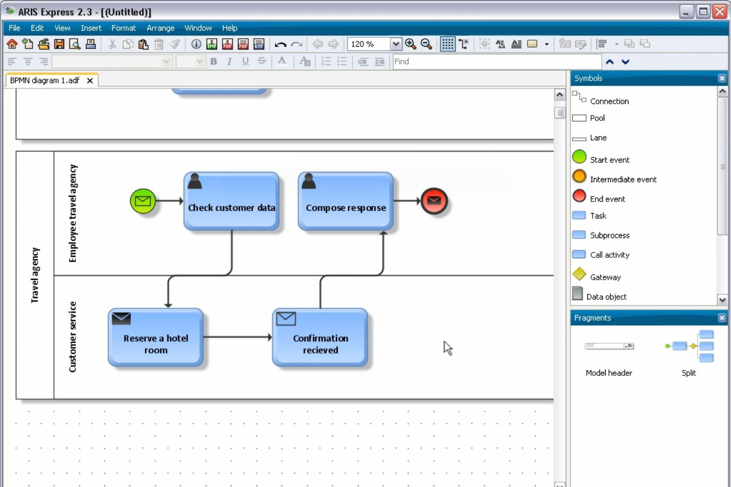 Learn how to model bpmn diagrams in aris express aris bpm community ccuart Gallery